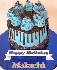 Blue Chocolte Drip Birthday Cake