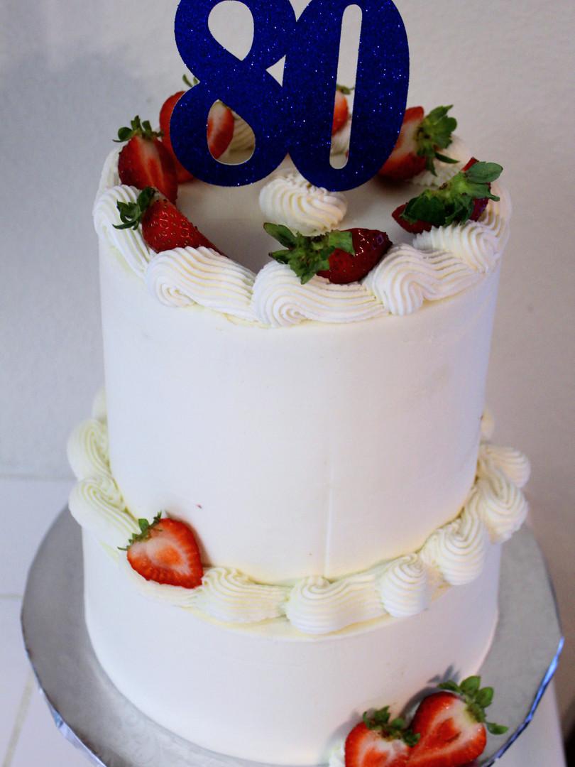 80th Strawberry Cake