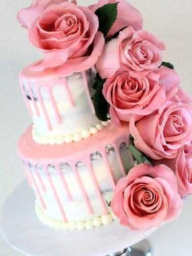 Baby Pink Drip Cake
