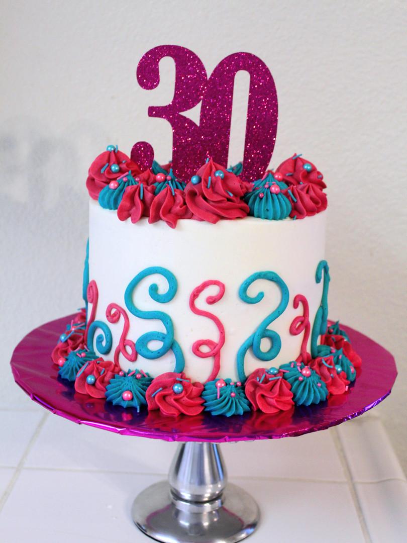 Pink & Teal Cake