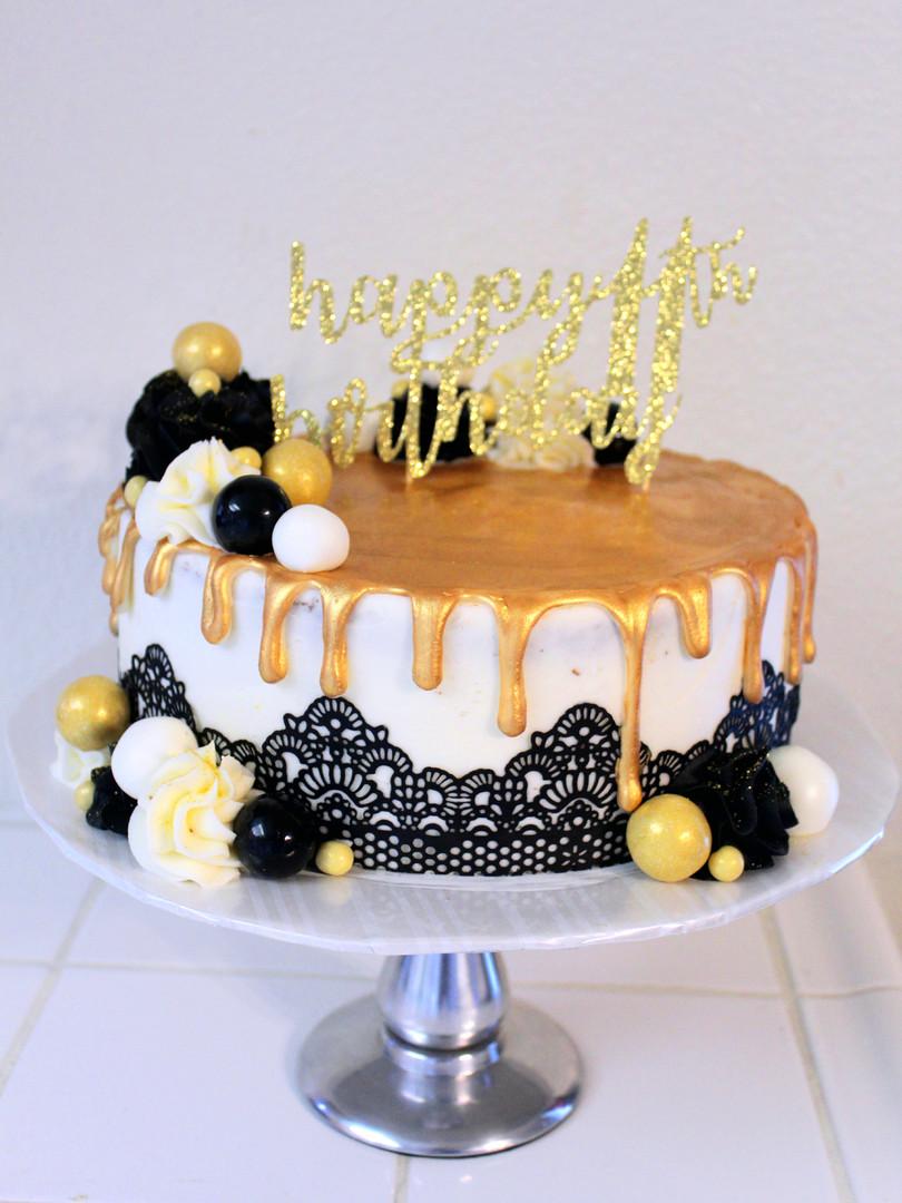 Black & Gold Lace Cake