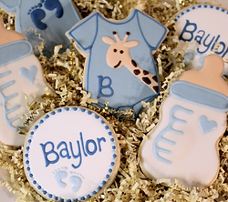 Congratulations New Baby Boy Blue Sugar Cookies Giraffe