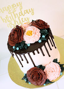 Floral Drip Birthday Cake
