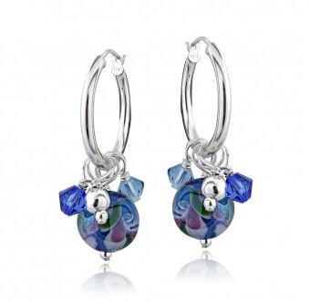 Millefiori Artisan Glass & Crystal Cluster Earrings