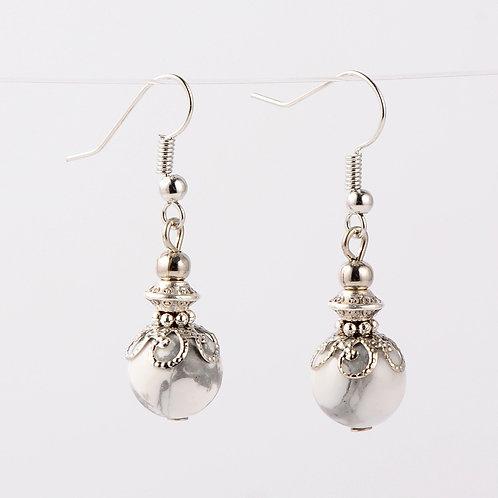 Natural Howlite & Tibetan Bead Earrings