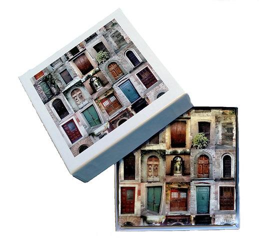 Set of Four Italian Botticino Marble Coasters & Gift Box