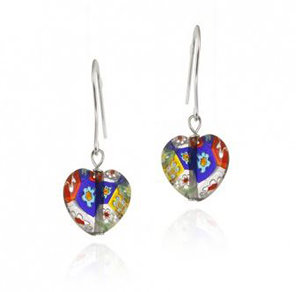 Multi-Colored Millefiori Murano Glass Heart Earrings