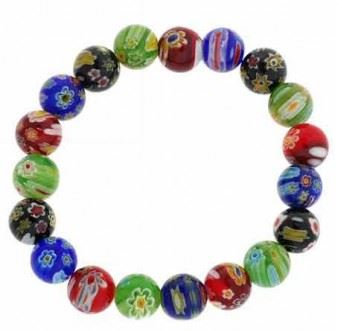 Millefiori Murano Glass Beaded Bracelet