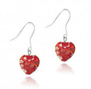 Red Millefiori Murano Glass Heart Earrings