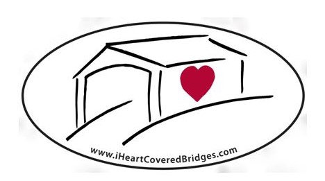 I Heart Covered Bridges Sticker