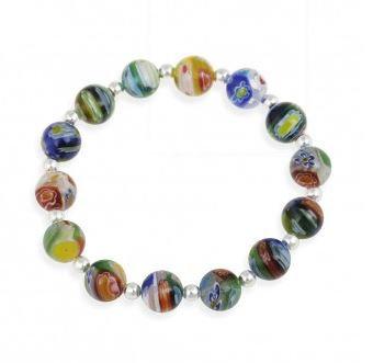 Millefiori Glass w/Sterling Silver Beaded Bracelet