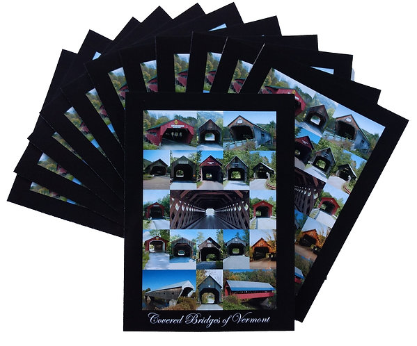 TWELVE – Covered Bridges of Vermont 5″ x 7″ Cards (blank inside)