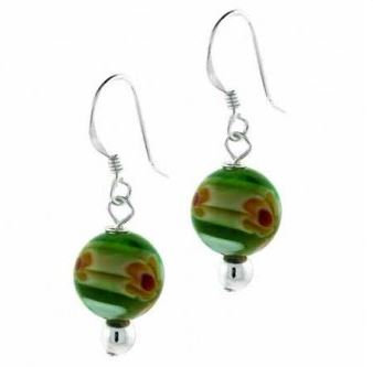 Green Millefiori Murano Glass Bead Earrings