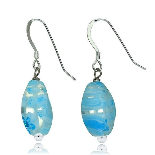 Aqua Millefiori Murano Glass Oval Earrings