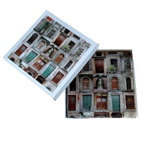 6″ X 6″ Italian Botticino Marble Trivet & Gift Box