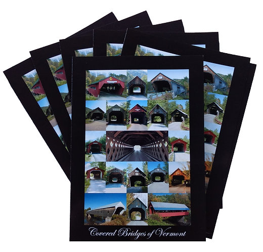 SIX – Covered Bridges of Vermont 5″ x 7″ Cards (blank inside)