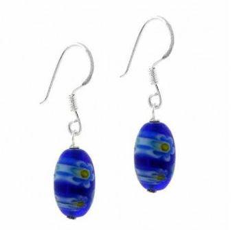 Blue Millefiori Murano Glass Oval Bead Earrings