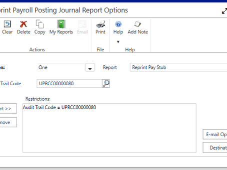 Dynamics GP October 2019 Feature of the Day - Reprint Pay Statements