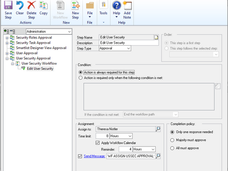 Dynamics GP October 2019 Feature of the Day - User Security Workflow