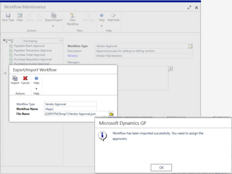 Dynamics GP October2019 Feature of the Day - Export or Import Workflow