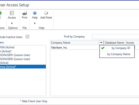 Dynamics GP October 2019 Feature of the Day - User Access Enhancements