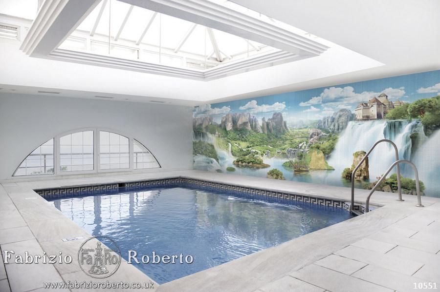 Пейзаж мозаика в бассейн