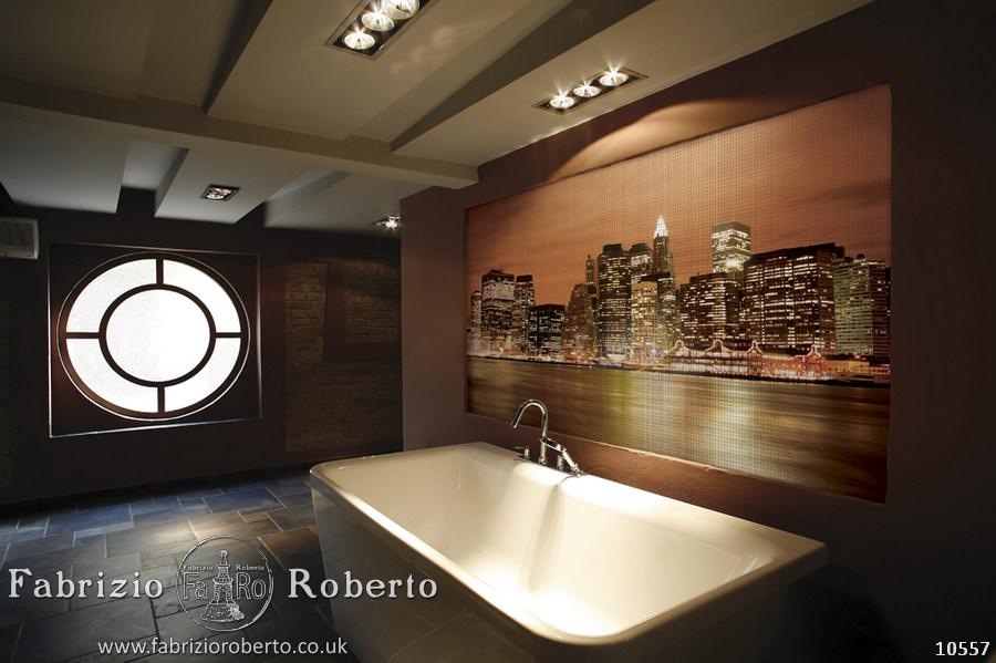 Ночной город мозаика в ванную