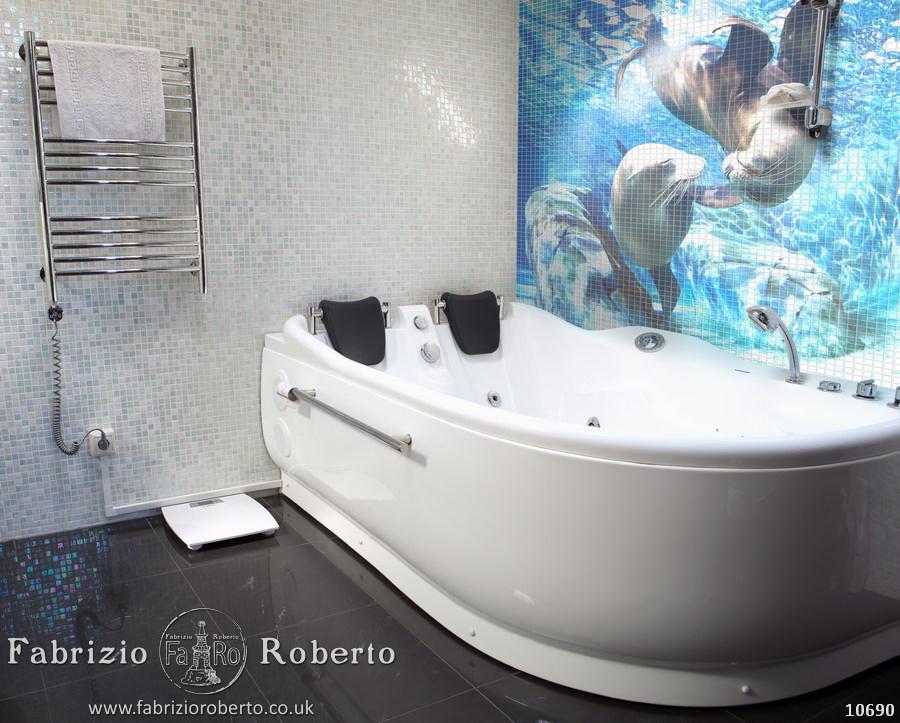 Дельфины мозаика в ванную
