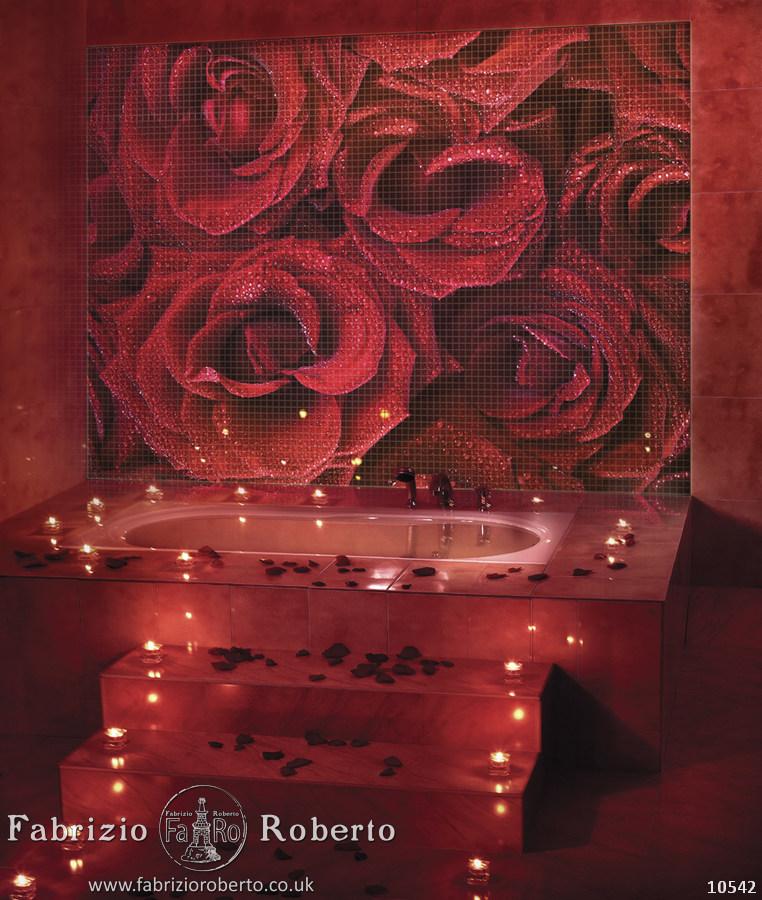 Розы в ванную комнату мозаика