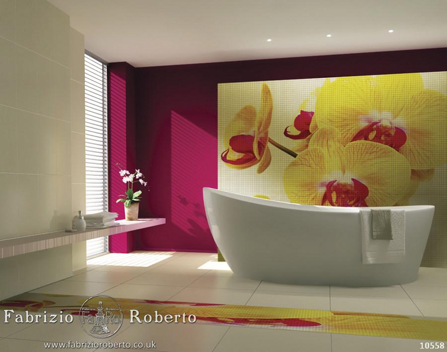 Цветы мозаика в ванную