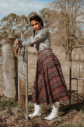 Festival Skirt - Multicoloured black stripe