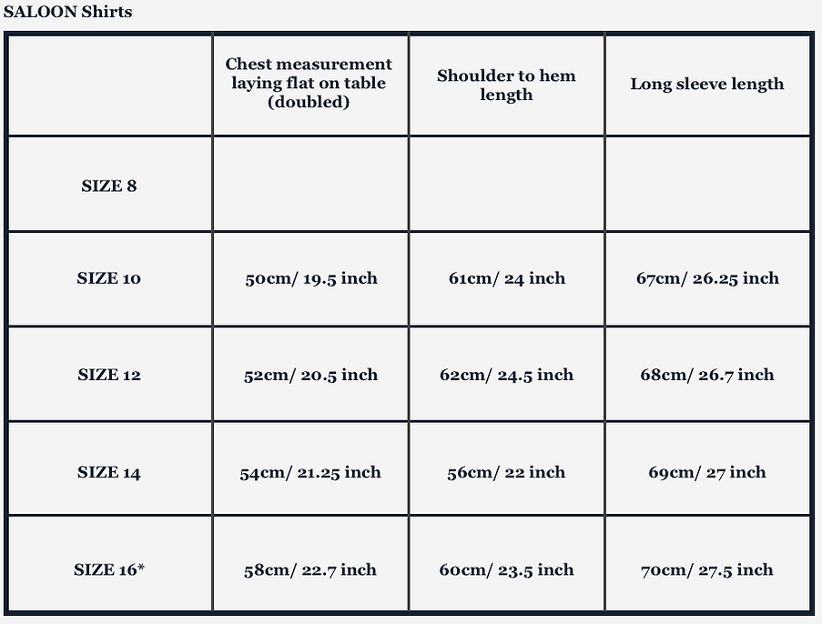 Shirts sizing chart