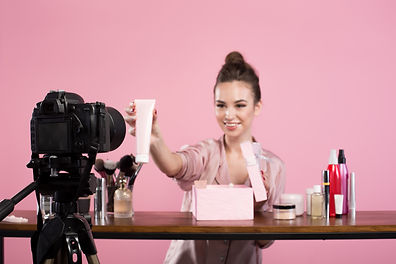 Famous blogger. Cheerful female vlogger