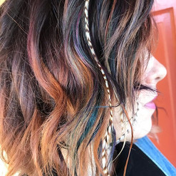 Rainbow highlights ft feather extensions