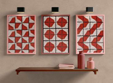 Brown-white ceramics wall art