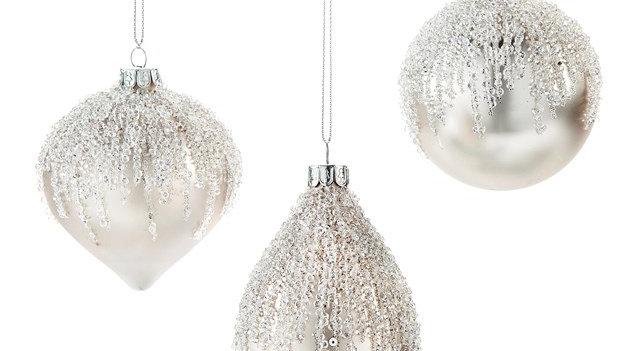 Beaded Glass Ornament (Set of 3)