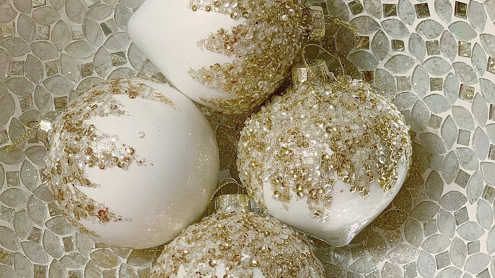 Sequin /Gold Glass Ornament (Set of 4)
