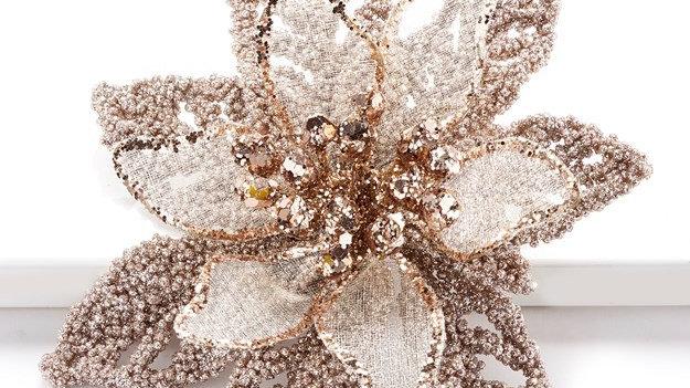 Glitter Poinsettia flower ornament