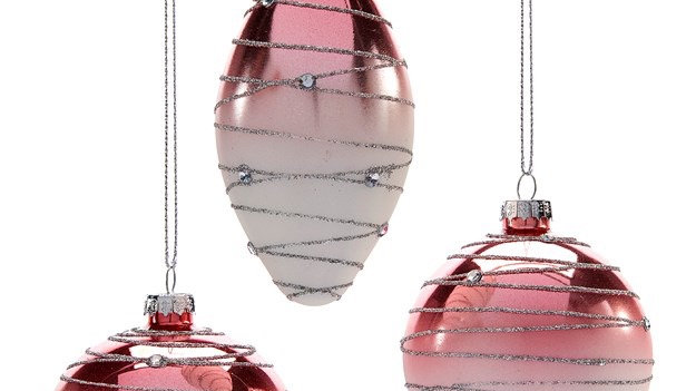 Pink Ombre Ornament w/Glitter( Set of 3)