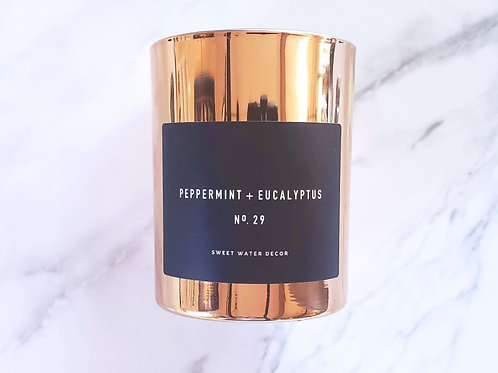 Peppermint + Eucalyptus | Rose Gold Soy Candle