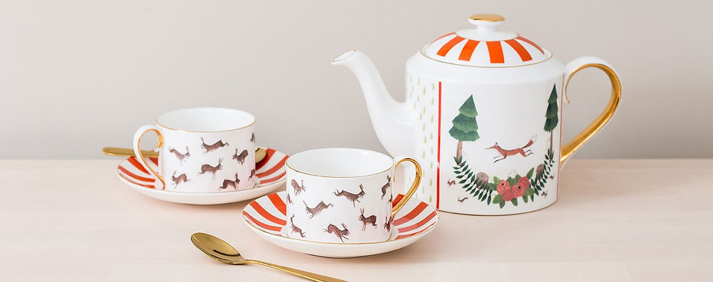 Fox and rabbit tea set