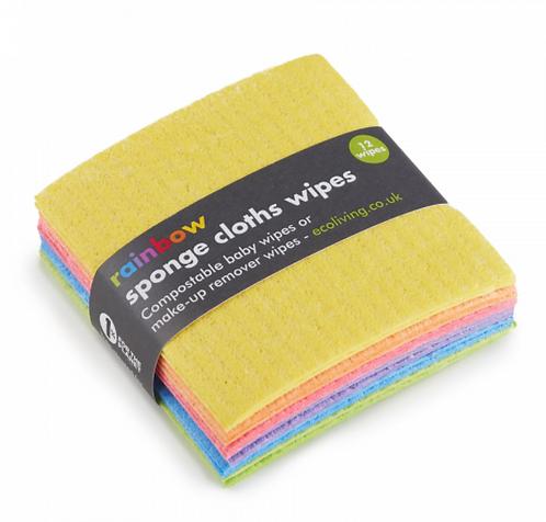 Rainbow sponge cloth wipes (12 pack) - Eco Living