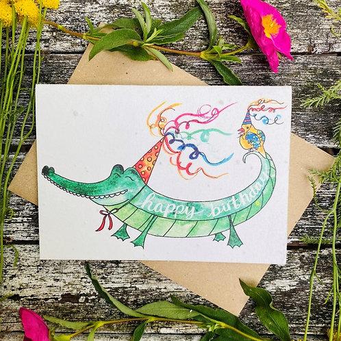 'Birthday alligator' plantable card - Loop Loop