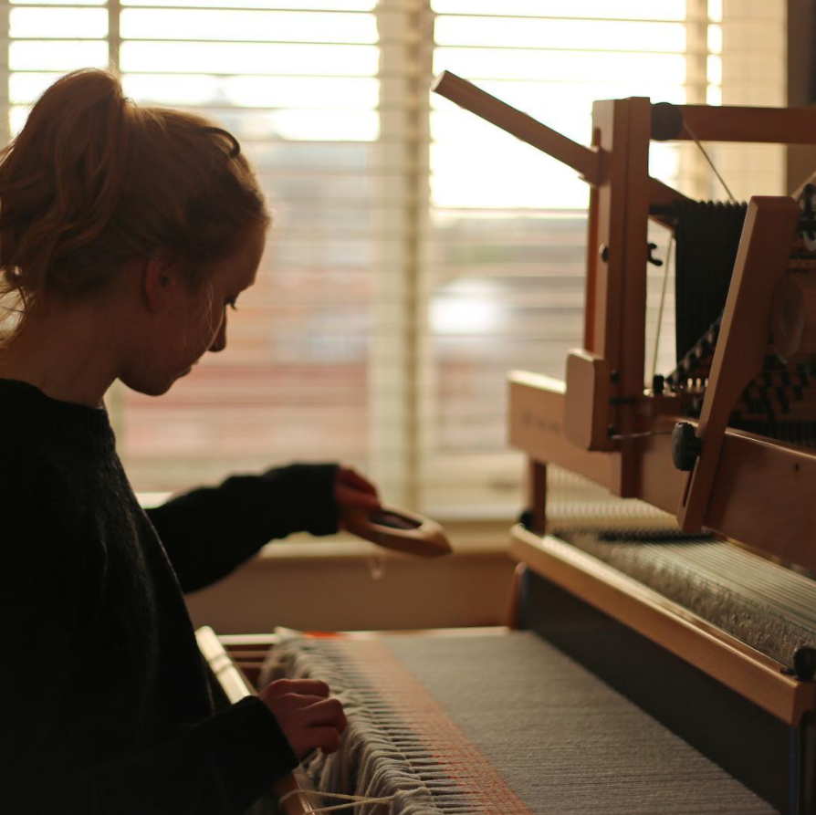 Emma at the loom