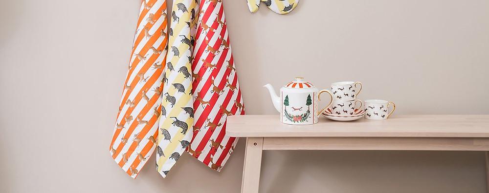 Tea towels and ceramics by Mister Berwyn