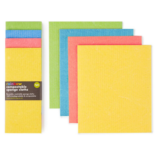 Rainbow compostable sponge cleaning cloths (4 pack) - Eco Living