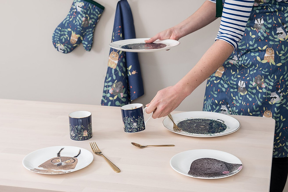 Nocturnal-themed ceramics, aprons and oven mitts