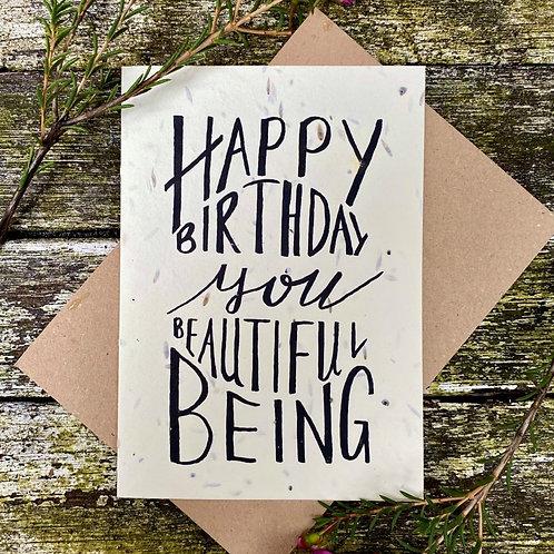 'Beautiful being birthday' plantable card - Loop Loop