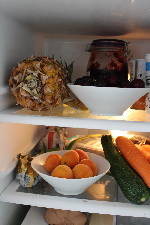 Inside a fridge