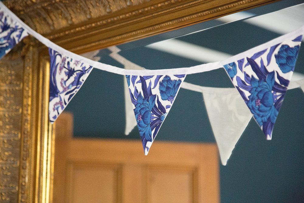Bunting handmade from recycled textiles
